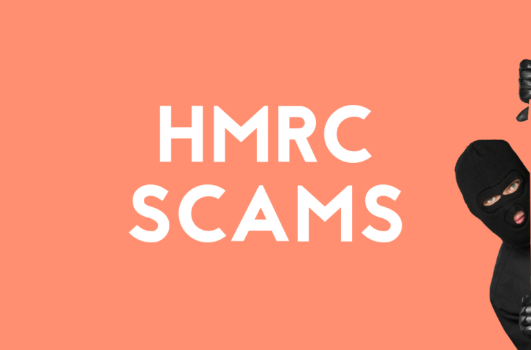 HRMC scams in text with photo of a scam artist